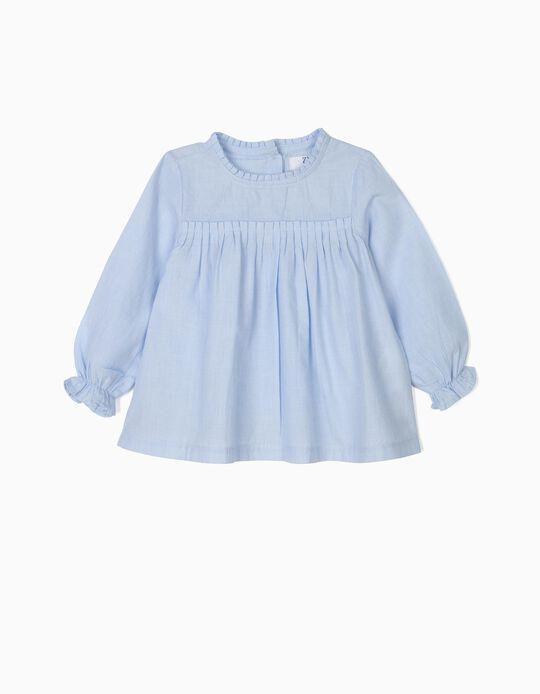 Blusa para Bebé Niña con Pliegues, Azul Claro