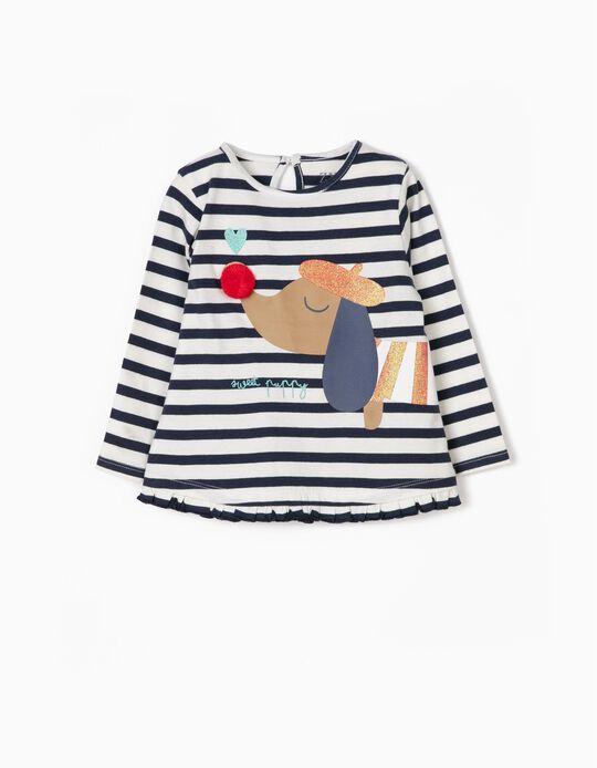 Camiseta de Manga Larga para Niña 'Sweet Puppy', Azul y Blanca