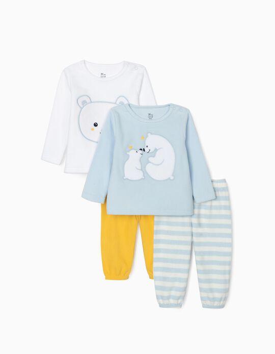 2 Polar Pyjamas for Baby Girls 'It's cold', Blue/White/Yellow