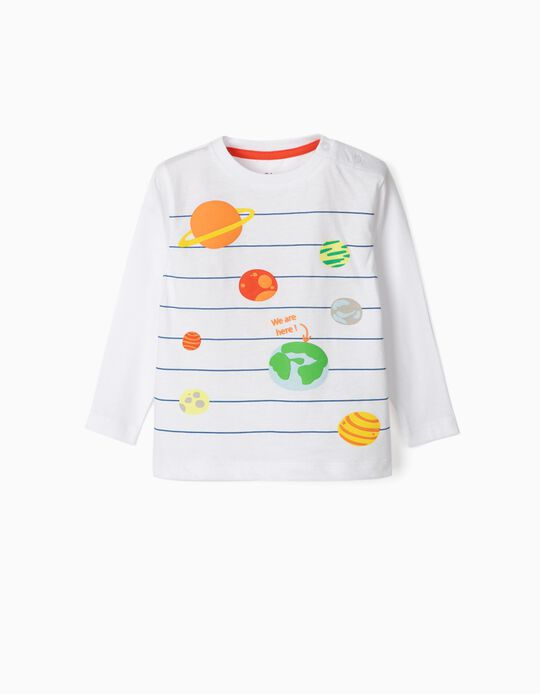 Long Sleeve 'Planets' Top for Baby Boys, White