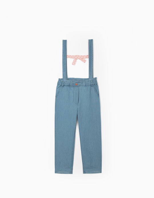 Denim Trousers with Straps for Girls, Light Blue