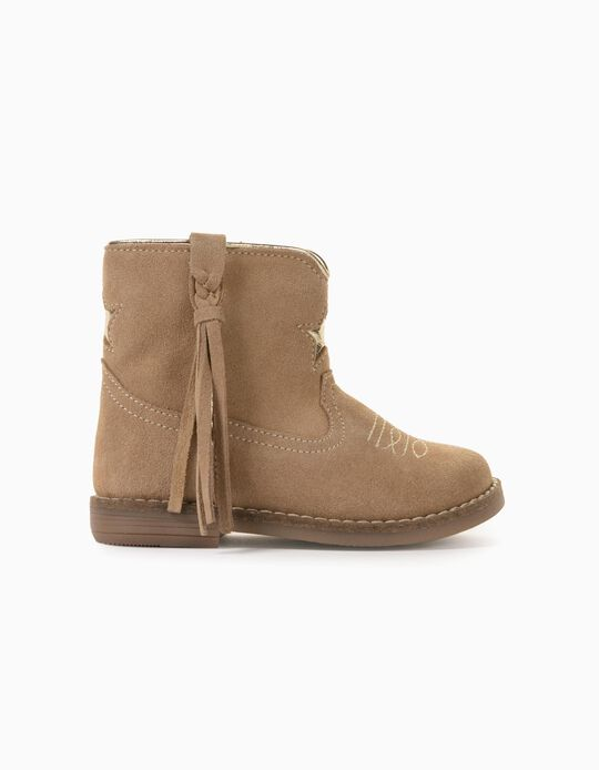 Suede Boots for Baby Girls, Beige