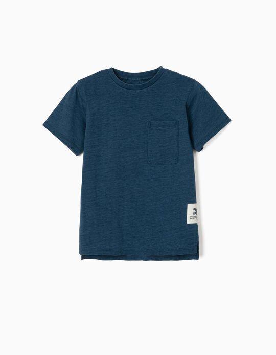T-shirt with Pocket, for Boys, 'Denim Wash', Blue