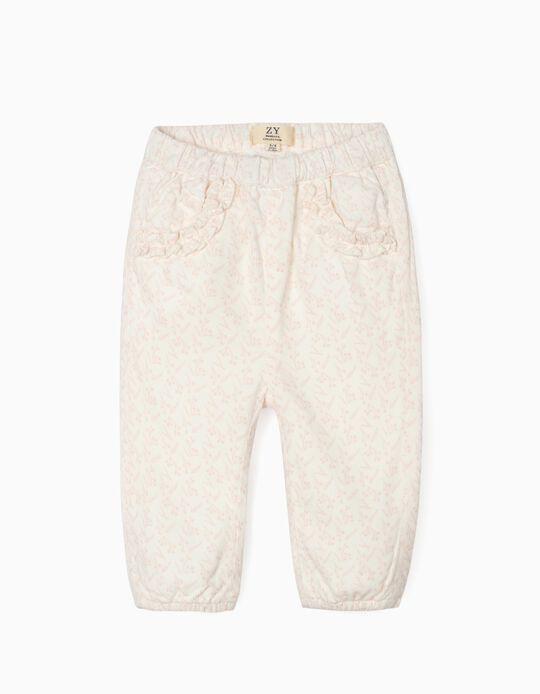 Corduroy Trousers for Newborn Baby Girls, White