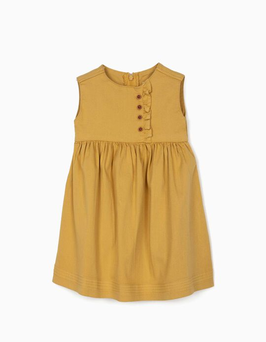 Twill Dress for Baby Girls, Dark Yellow