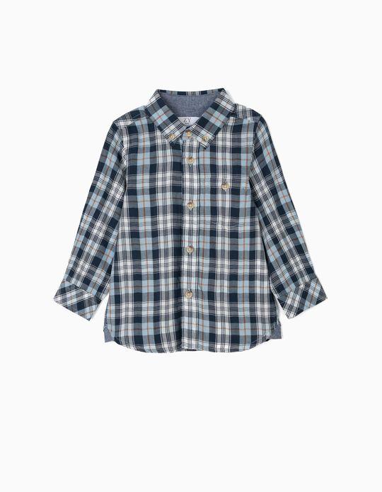 Camisa para Bebé Menino Xadrez, Azul