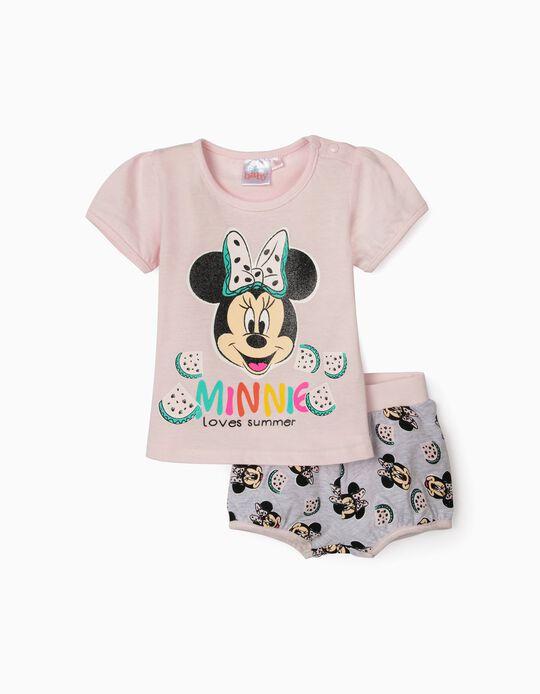 T-shirt et short bébé fille 'Minnie Summer', rose/gris