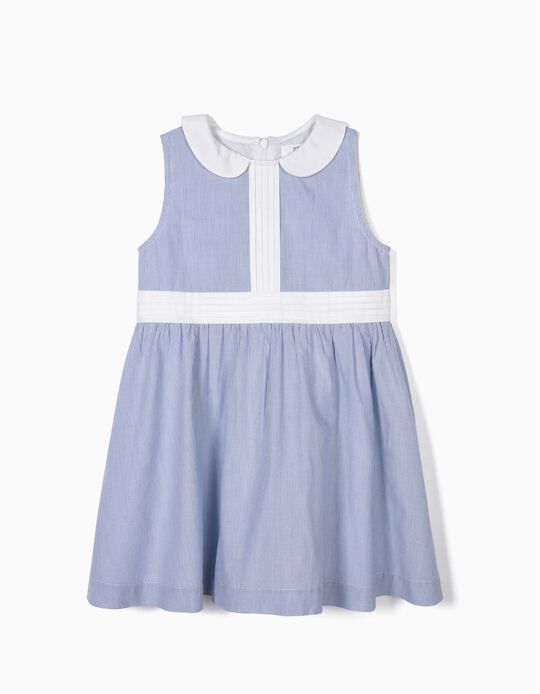 Striped Dress for Girls, Blue