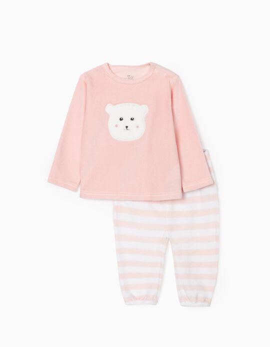 Velvet Pyjamas for Baby Girls 'Bear', Pink