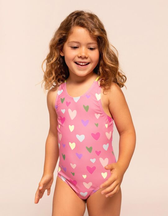 Bañador con Protección UV 60 para Niña 'Hearts', Rosa