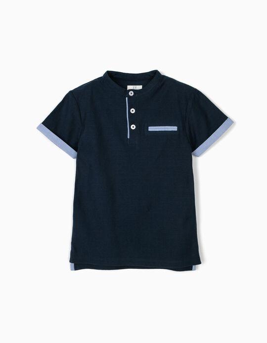Polo para Menino com Textura e Gola Mao, Azul Escuro