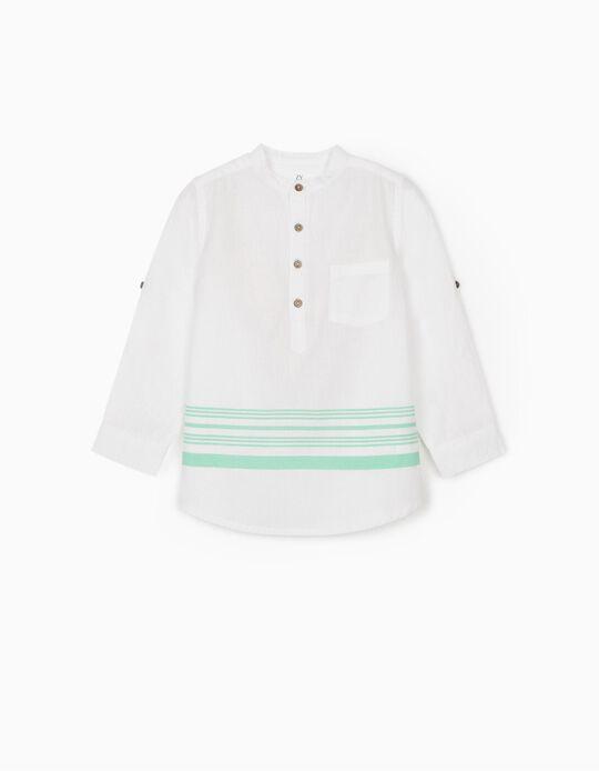Camisa com Linho para Menino 'Riscas', Branco