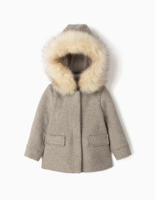 Woollen Coat for Baby Girls, Grey