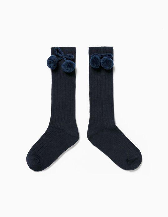 Chaussettes Hautes Bleu avec Pompons