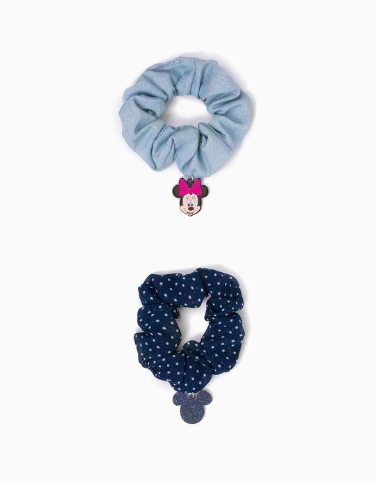2  Gomas del Pelo Scrunchie para Niña 'Minnie', Azul