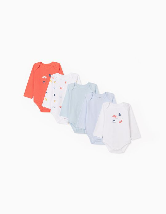5 Bodysuits for Babies, 'Whales', Coral/White/Blue
