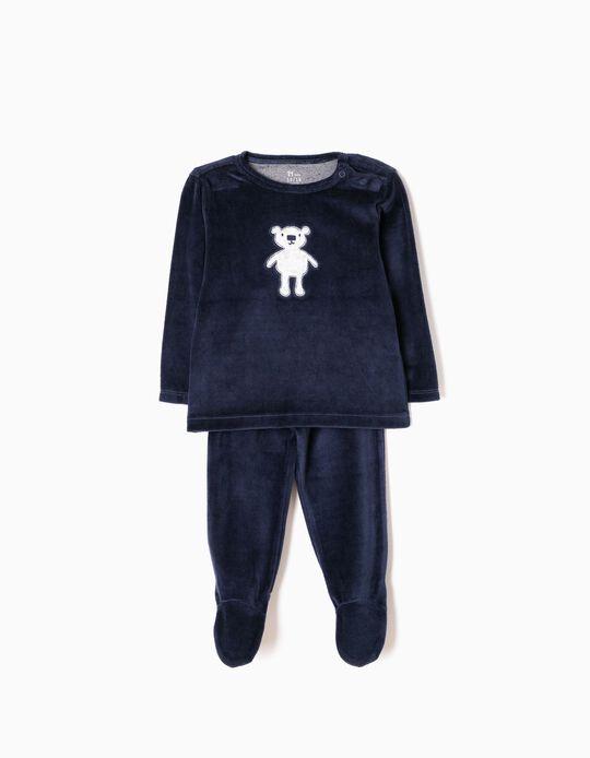 Pijama Veludo com Pés Ursinho Azul Escuro