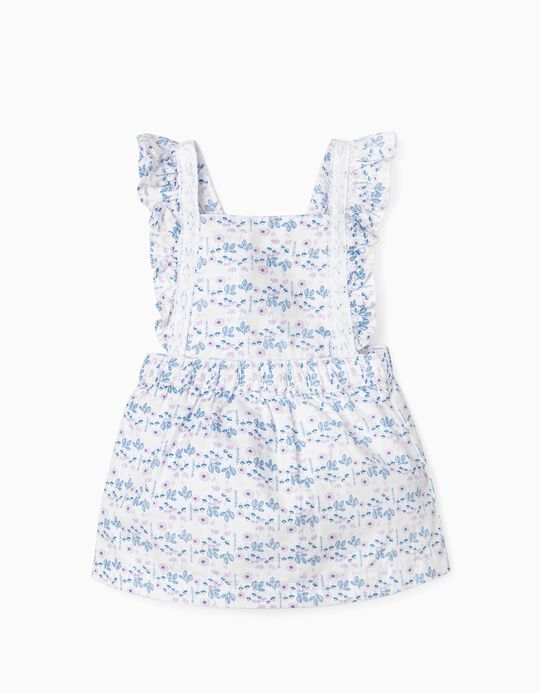 Floral Dungaree Dress for Newborn Baby Girls, White