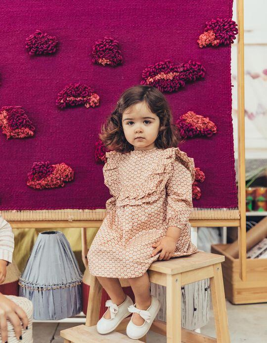 Vestido de Flores para Bebé Niña, Marrón Claro