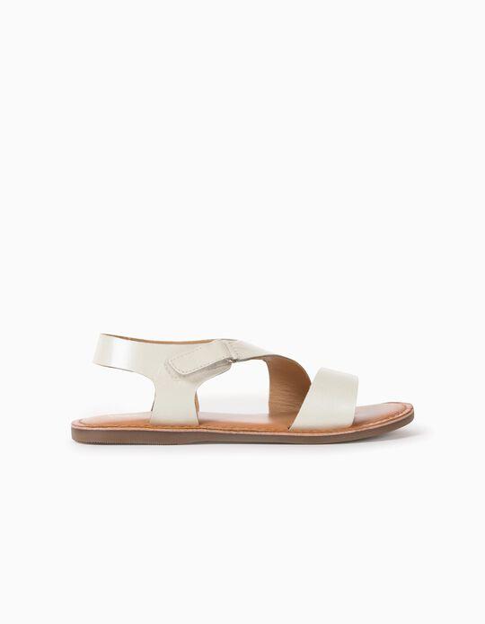 Sandalias de Piel para Niña, Blanco Perla