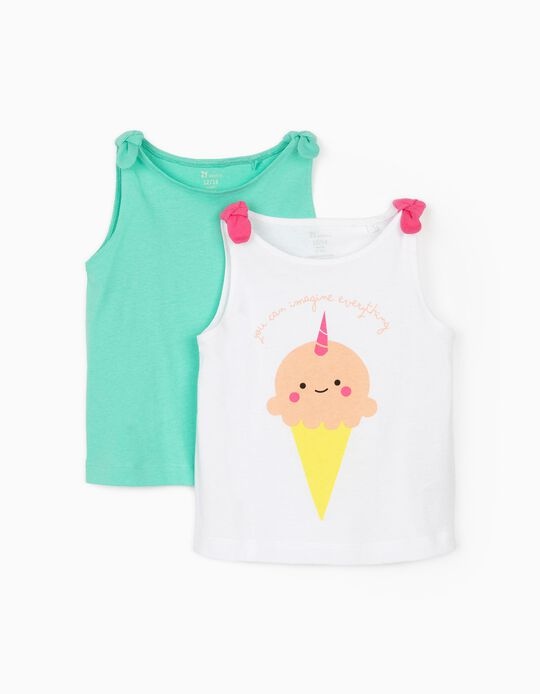 2 Cami Tops for Baby Girls, 'Ice Cream', White/Aqua Green