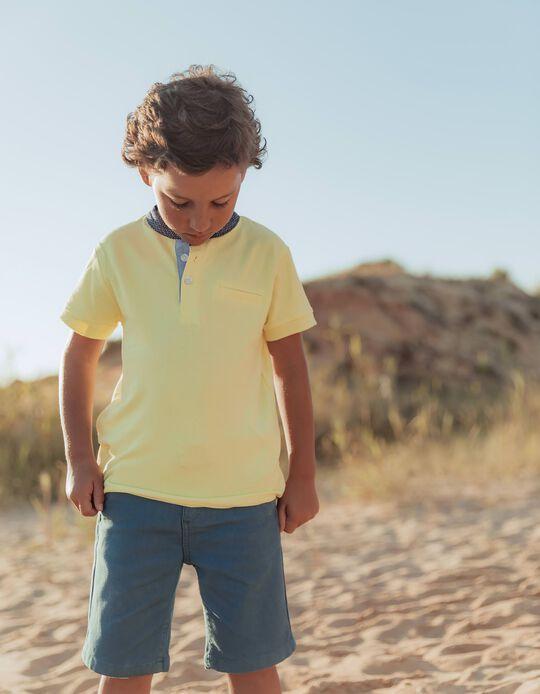 Polo Shirt with Mandarin Collar for Boys, Yellow