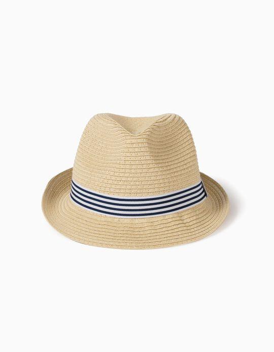 Striped Straw Hat for Children, Beige