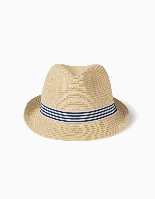 Sombrero de Paja a Rayas Infantil, Beige