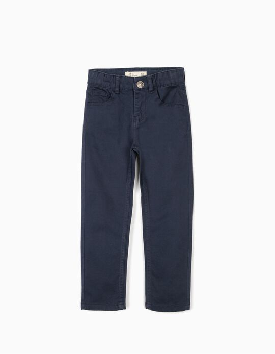 Calças Sarja para Menino, Azul Escuro