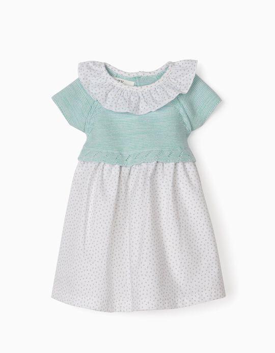 Dual Fabric Dress for Newborn Baby Girls, Blue/White