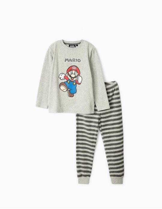 Pijama de Terciopelo para Niño 'Super Mario', Gris