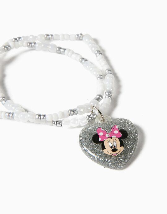Pulsera de Colgantes para Niña 'Minnie', Blanca/Plateada