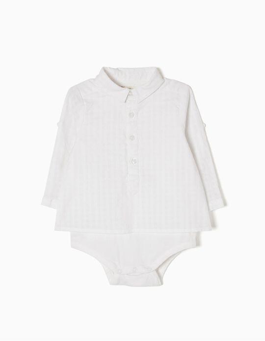 Body-Camisa Blanco de dos Tejidos