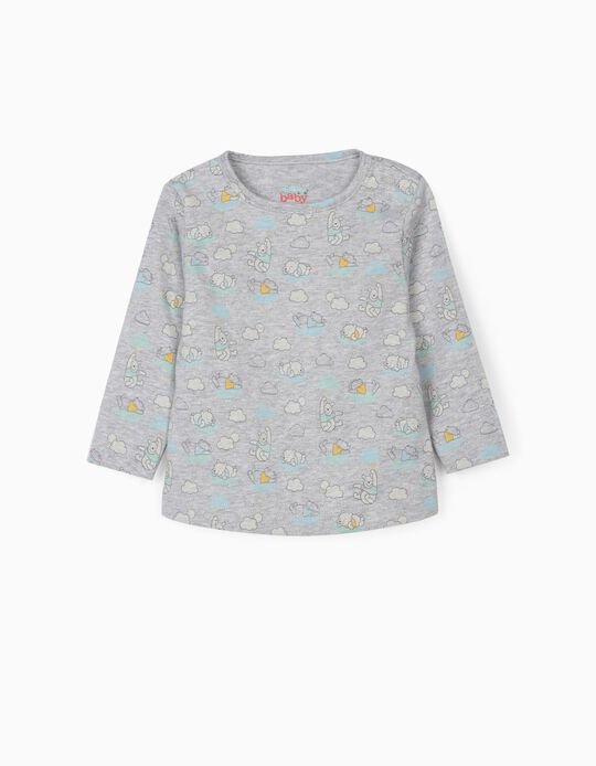 Long Sleeve Top for Newborn Baby Boys, 'Winnie the Pooh', Grey