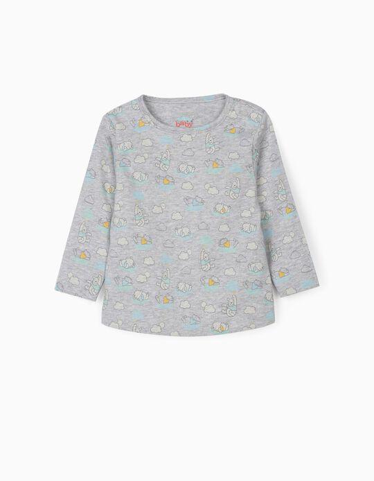 T-shirt manches longues nouveau-né 'Winnie l'ourson', gris