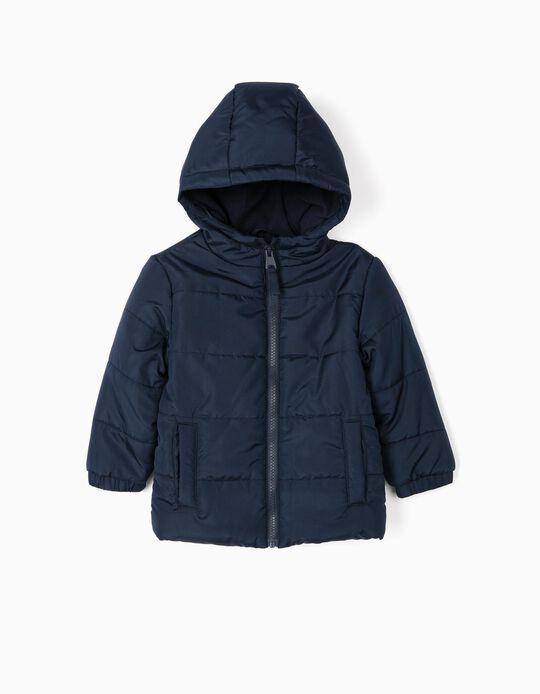 Blusão Acolchoado com Capuz para Bebé Menino, Azul Escuro