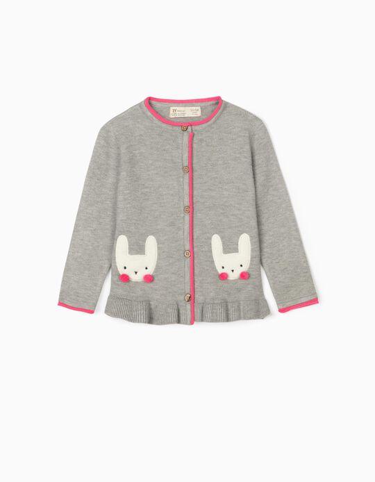 Casaco de Malha para Bebé Menina 'Bunny', Cinza