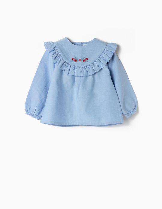 Blusa para Bebé Niña 'Flores & Volantes', Azul
