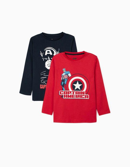 2 Camisetas de Manga Larga Niño 'Capitán América', Rojo/Azul Oscuro
