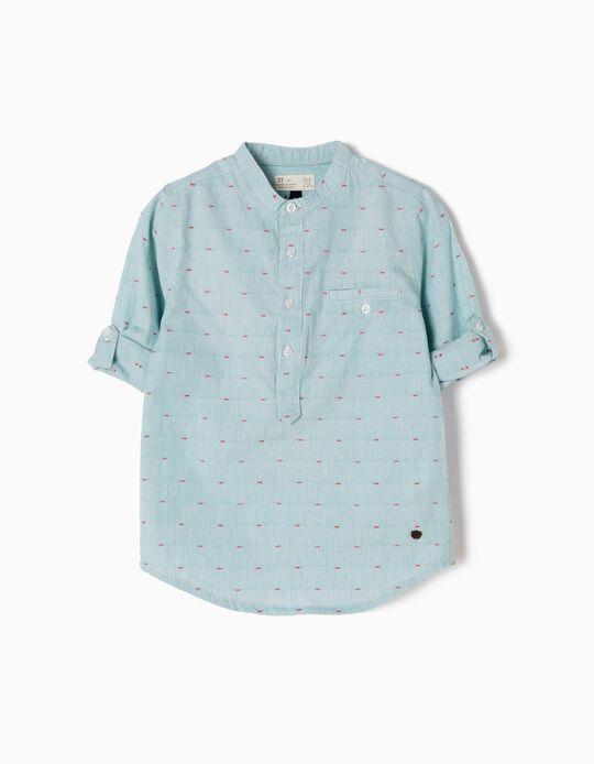 Camisa de Manga Larga a Rayas Verdes