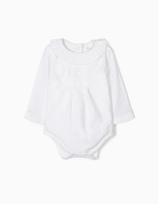 Body-Blusa com Pregas para Recém-Nascida, Branco