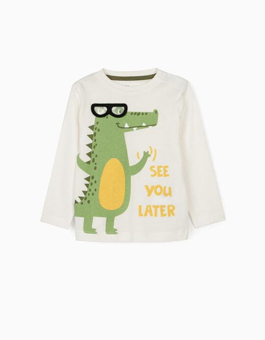 Long Sleeve Top for Baby Boys, 'Croc', White