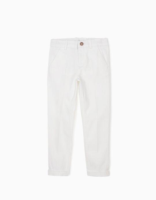 Pantalon garçon, blanc
