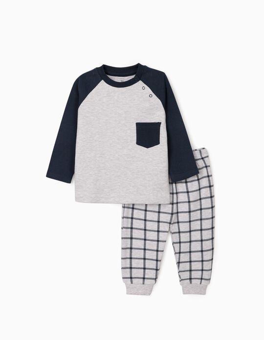 Pijama para Bebé Niño, Gris/Azul Oscuro