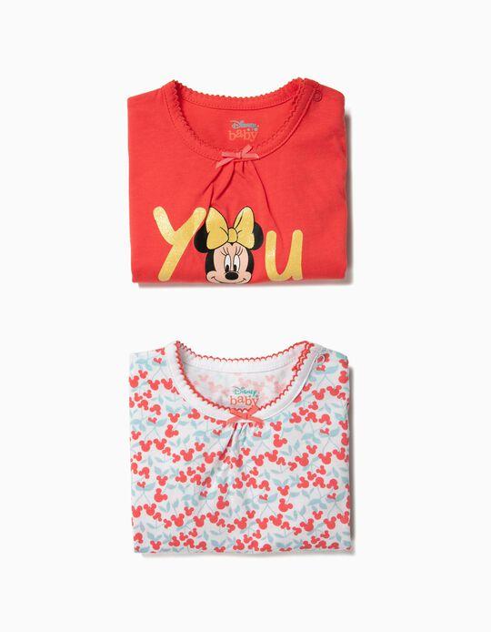 2 Babygrows para Bebé Menina 'Sweet Minnie', Vermelho e Branco