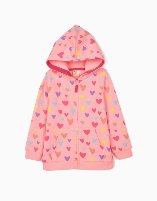Gilet à capuche fille 'Hearts', rose