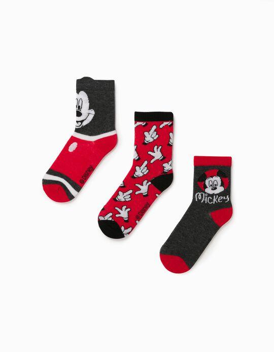 3 Pares de Meias para Menino 'Mickey', Vermelho/Cinza