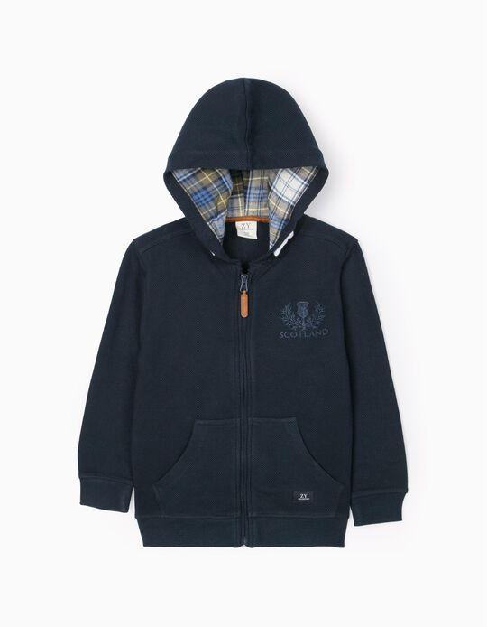 Hooded Cardigan for Boys 'Scotland', Dark Blue