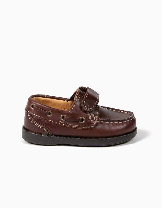 Chaussures Bateau Bébé Garçon Cuir, Marron