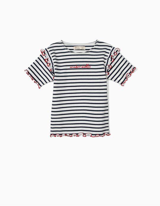 T-shirt Canelada para Menina 'Mademoiselle', Azul e Branco
